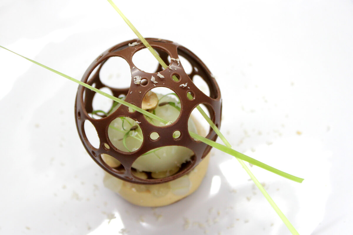 Fennel sorbet, praline cream, chocolate ball